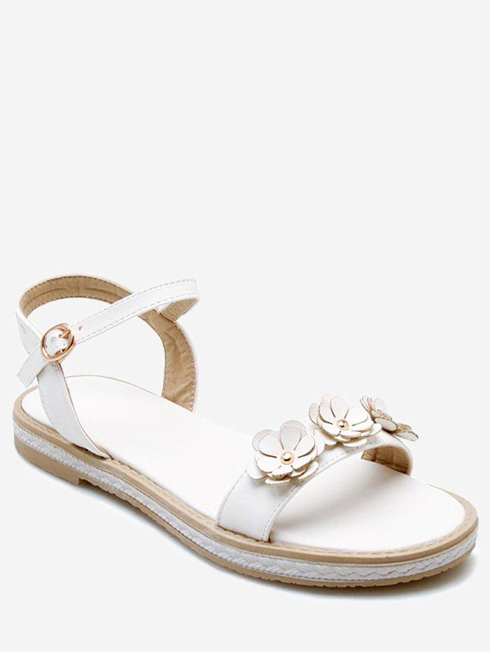Plus Size Floral Embellished Buckled Ankle Wrap Sandals - WHITE 40