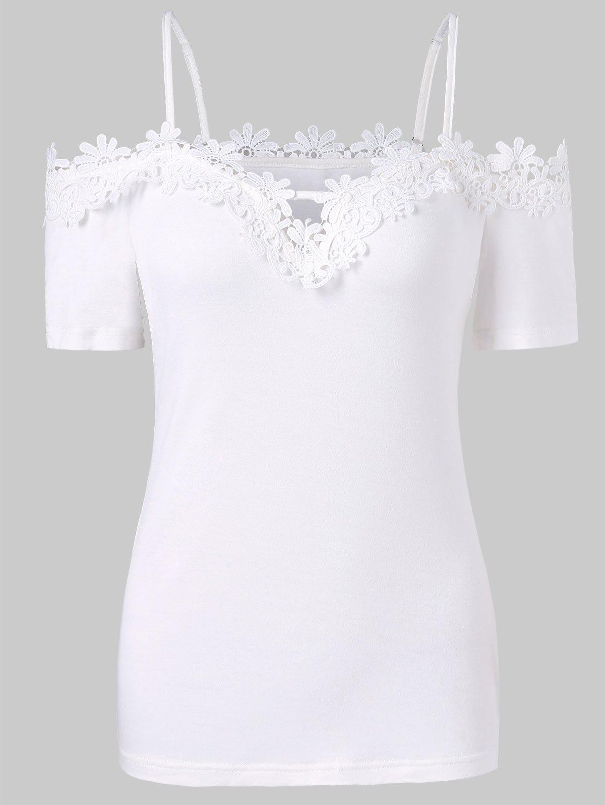 Lace Applique Open Shoulder T-shirt - WHITE L
