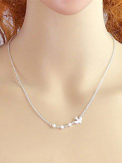 Vintage Flying Dove Decorative Pendant Necklace - SILVER