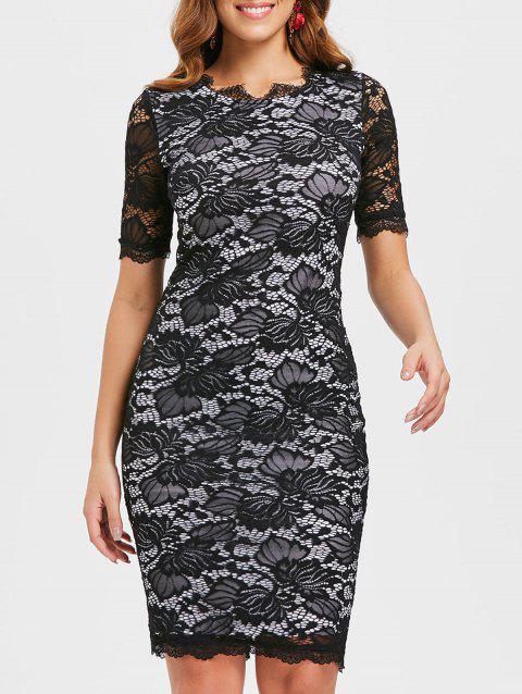 Lace Bodycon Dress - BLACK M