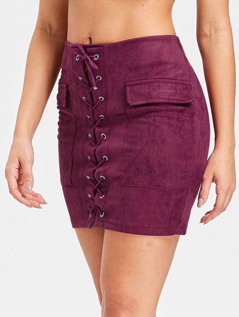 Criss Cross Faux Suede Skirt - BURNT PINK S
