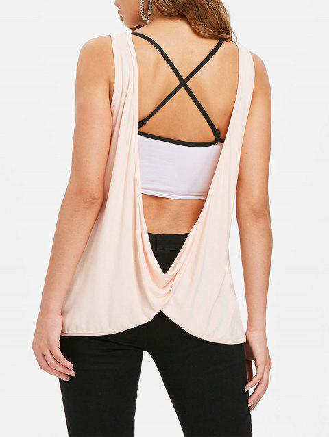 Sleeveless Lace Draped Back Top - PINK BUBBLEGUM XL