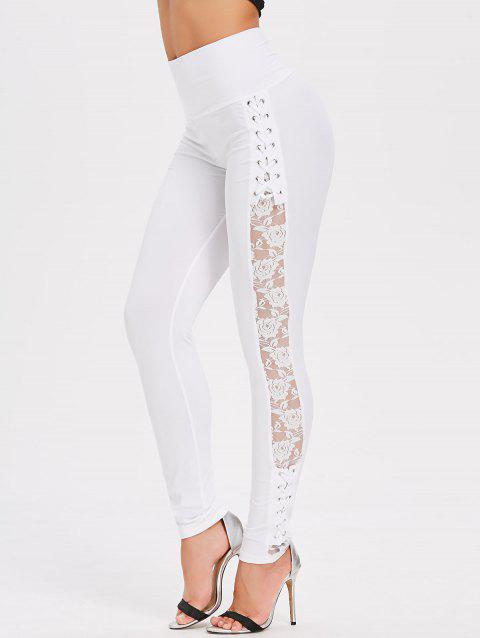 High Rise Criss Cross Lace Panel Pencil Pants - WHITE L