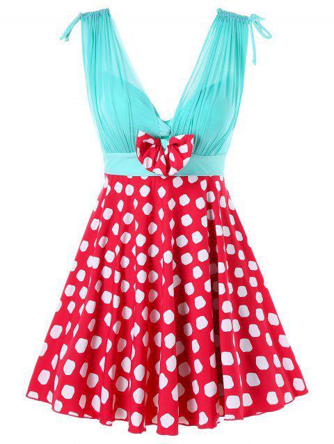 One Piece Polka Dot Empire Waist Swimwear - RED L