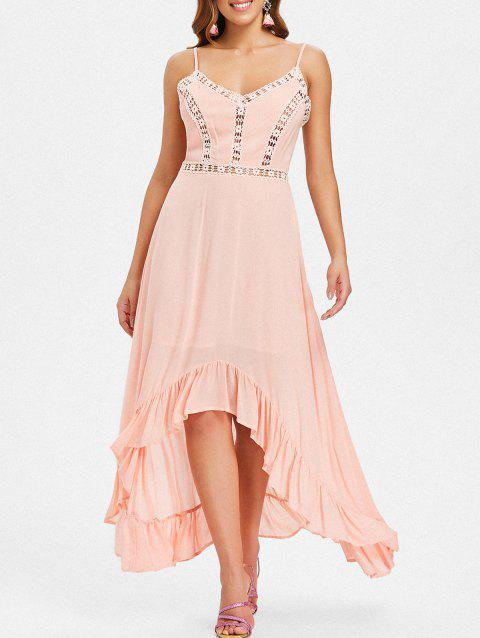 Ruffle Hem Spaghetti Strap Long Dress - LIGHT PINK XL