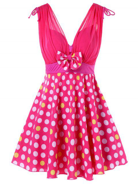 One Piece Polka Dot Empire Waist Swimwear - DEEP PINK L