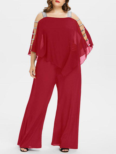 Plus Size Ladder Cut Out Capelet Jumpsuit - LOVE RED L
