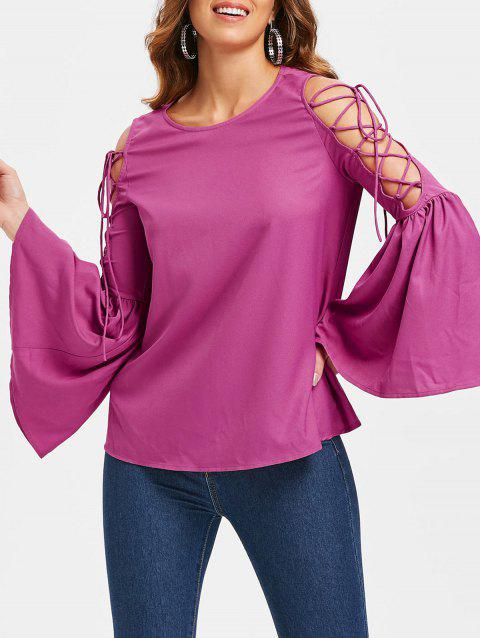 Lace Up Flare Sleeve Tee - ROSE RED M