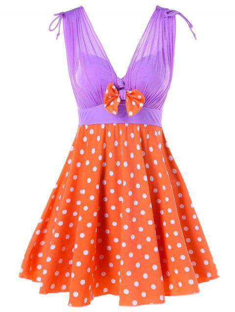 One Piece Polka Dot Empire Waist Swimwear - ORANGE L