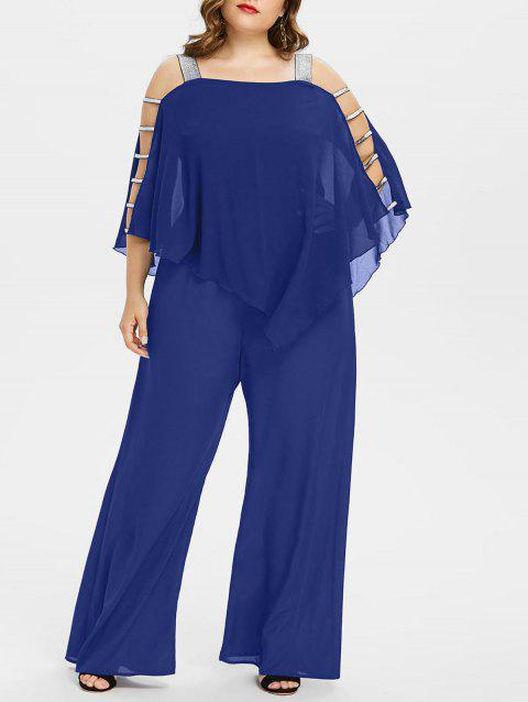 Plus Size Ladder Cut Out Capelet Jumpsuit - EARTH BLUE 1X