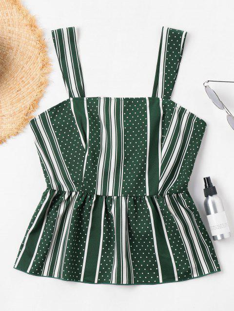 Striped Peplum Tank Top - DEEP GREEN M