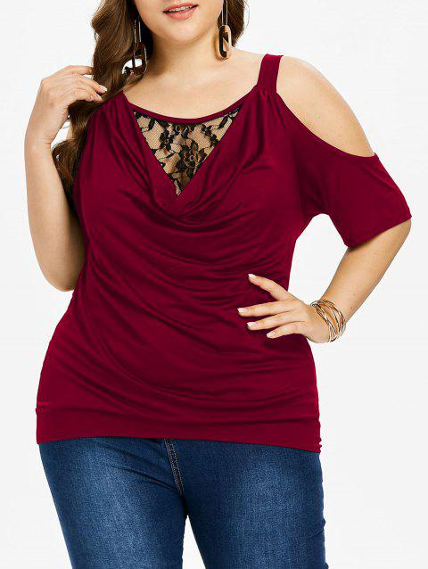 d572f07f58e430 41% OFF] 2019 Plus Size Cold Shoulder Cowl Neck T-shirt In RED WINE ...