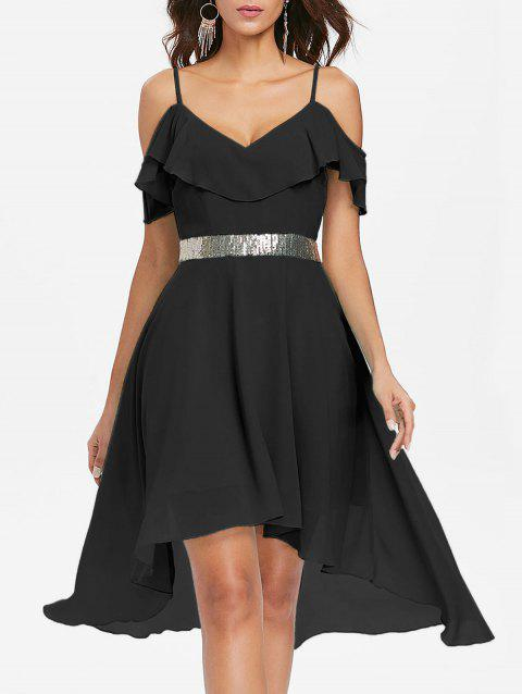 Cold Shoulder Chiffon High Low Flowy Dress - BLACK L