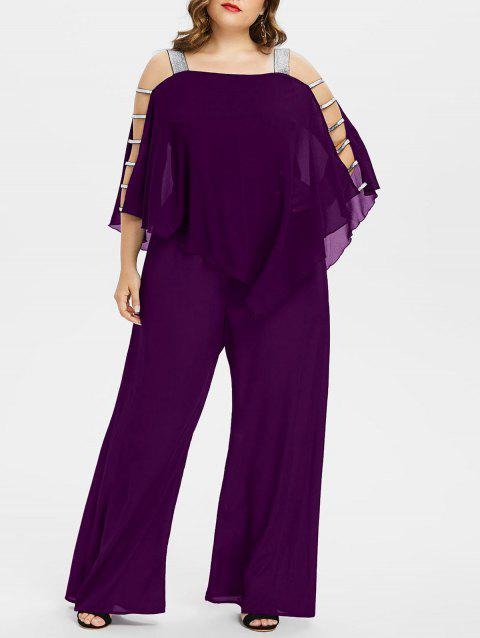 Plus Size Ladder Cut Out Capelet Jumpsuit - PURPLE IRIS 2X