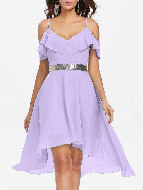 Cold Shoulder Chiffon High Low Flowy Dress - MAUVE M