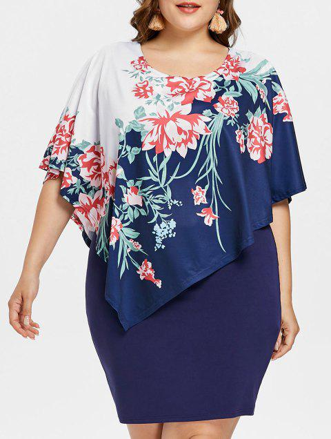 Plus Size Floral Capelet Tight Dress - MIDNIGHT BLUE L