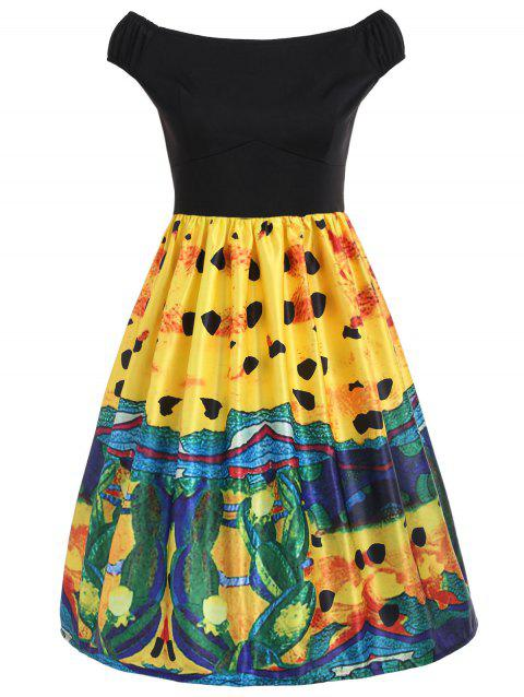 Painting Fit and Flare Vintage Dress - BLACK L