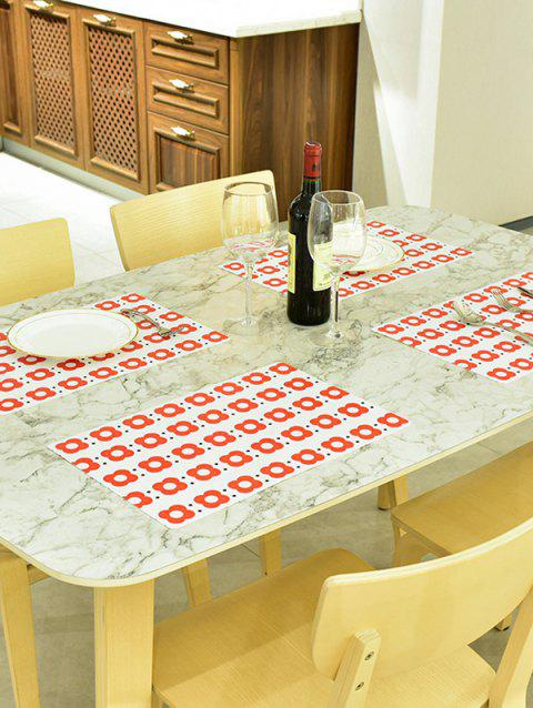 Small Red Flower Pattern PVC Table Placemats 2PCS - RED