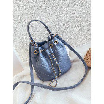 Bucket Shaped Stitching Casual Handbag with Strap - BLUE