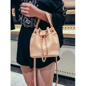 Bucket Shaped Stitching Casual Handbag with Strap - PINK
