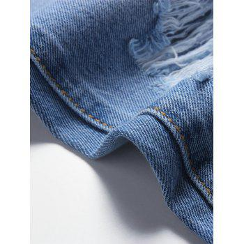 Zip Fly Faded Wash Distressed Jeans - DENIM BLUE L