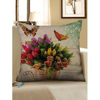 Flowers and Butterfly Print Linen Sofa Pillowcase - multicolor W18 INCH * L18 INCH