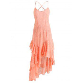 Asymmetrical Tiered Ruffle Midi Dress - LIGHT PINK M