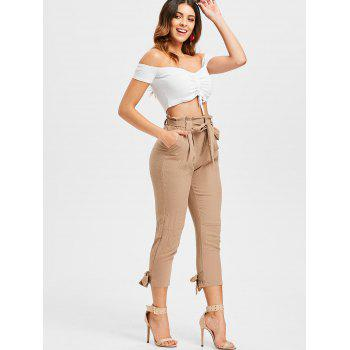 Belted High Waisted Tapered Pants - LIGHT KHAKI S
