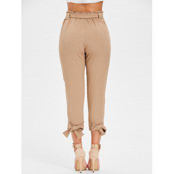Belted High Waisted Tapered Pants - LIGHT KHAKI M