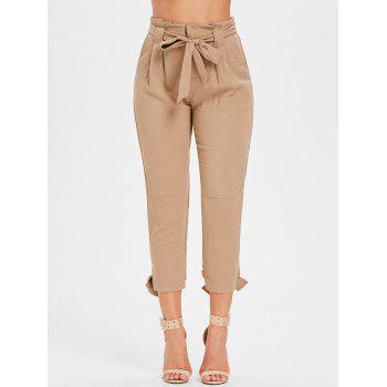 Belted High Waisted Tapered Pants - LIGHT KHAKI L