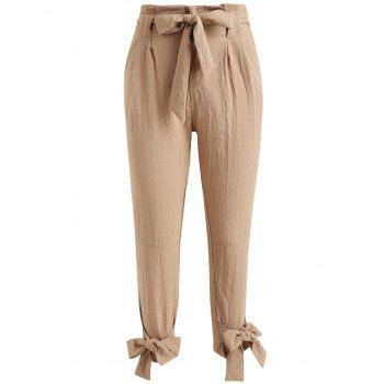 Belted High Waisted Tapered Pants - LIGHT KHAKI XL
