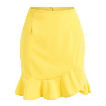 High Waisted Mini Mermaid Skirt - YELLOW L