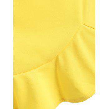 High Waisted Mini Mermaid Skirt - YELLOW XL