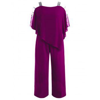 Plus Size Ladder Cut Out Capelet Jumpsuit - VIOLET RED 5X