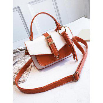 Color Block Flapped Buckled Crossbody Bag - WHITE