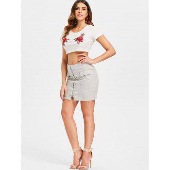 Criss Cross Faux Suede Skirt - LIGHT GRAY L