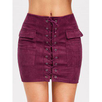 Criss Cross Faux Suede Skirt - BURNT PINK M