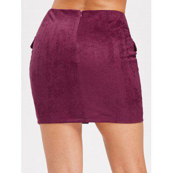 Criss Cross Faux Suede Skirt - BURNT PINK L