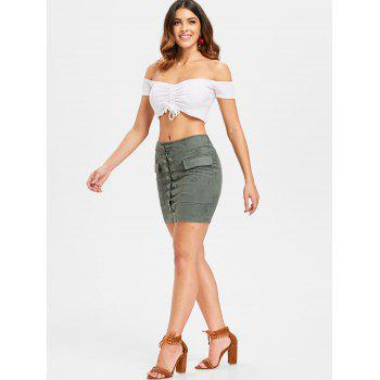 Criss Cross Faux Suede Skirt - ARMY GREEN L