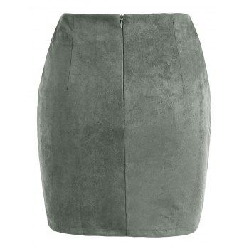 Criss Cross Faux Suede Skirt - ARMY GREEN S