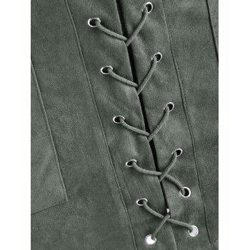 Criss Cross Faux Suede Skirt - ARMY GREEN XL