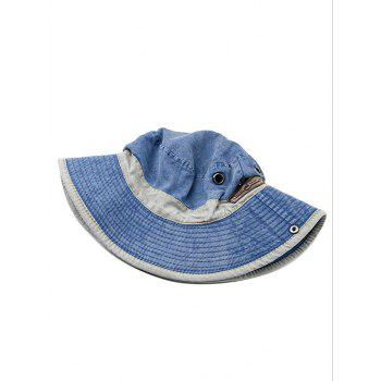 Lightweight Cotton Washed Dyed Adjustable Sun Hat - BLUE