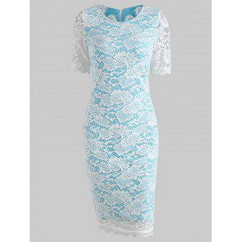 Lace Bodycon Dress - LIGHT SKY BLUE L