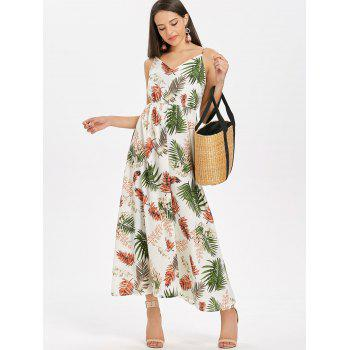 Spaghetti Strap Leaf Print Maxi Dress - multicolor XL