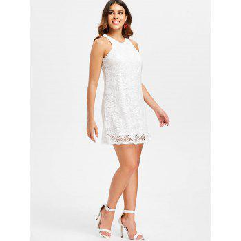 Swing Sleeveless Trapeze Dress - WHITE S