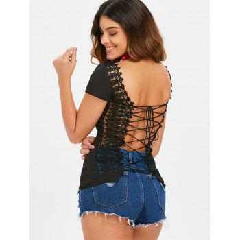 Backless Lace Up Tee - BLACK S