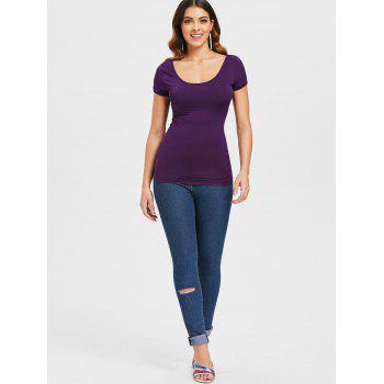 Backless Lace Up Tee - PURPLE IRIS S