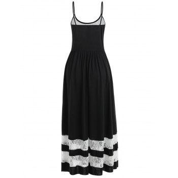 Lace Trim Spaghetti Strap Maxi Dress - BLACK XL