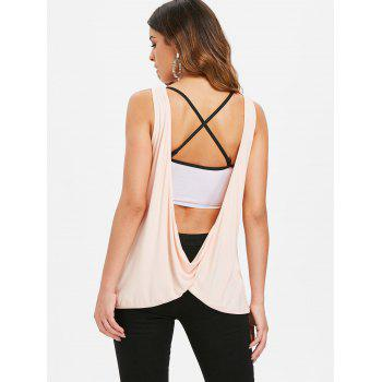 Sleeveless Lace Draped Back Top - PINK BUBBLEGUM M