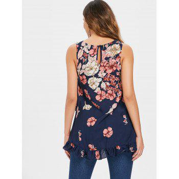 Flower Pattern Flounce Hem Tank Top - DEEP BLUE M